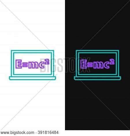 Line Math System Of Equation Solution On Chalkboard Icon Isolated On White And Black Background. E E
