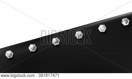 Technological Background From Sheet Painted Metal Or Plastic Bolted. Black Realistic Metallic Bluing