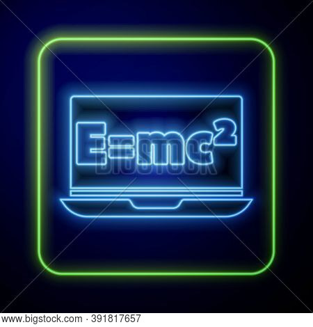 Glowing Neon Math System Of Equation Solution On Laptop Icon Isolated On Blue Background. E Equals M