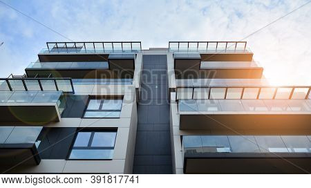 Modern And New Apartment Building. Multistoried Modern, New And Stylish Living Block Of Flats. Facad