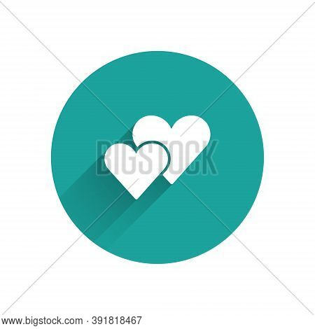 White Heart Icon Isolated With Long Shadow. Romantic Symbol Linked, Join, Passion And Wedding. Valen