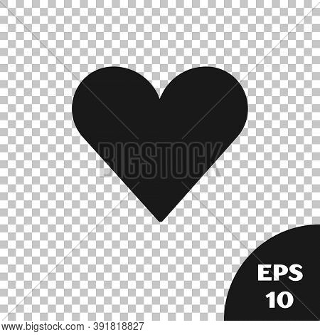Black Heart Icon Isolated On Transparent Background. Romantic Symbol Linked, Join, Passion And Weddi