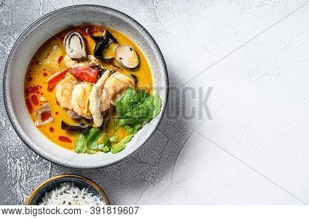 Tom Yam Kong Or Tom Yum, Clear Soup.tom Yam. Gray Background. Top View. Copy Space