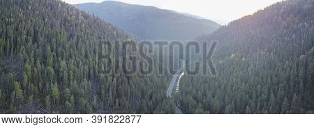 Panorama Of The Forest And Roads Leading To The Mountain Hoverla In The Ukrainian Carpathians