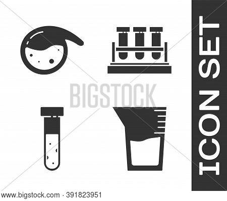 Set Laboratory Glassware Or Beaker, Test Tube And Flask Chemical, Test Tube And Flask Chemical And T