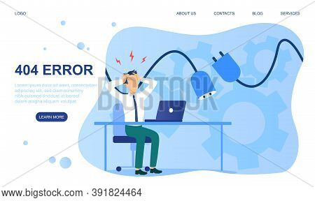 Design Template For Web Page, Website Or Landing Page With 404 Error. Can Use For Web Banner, Infogr