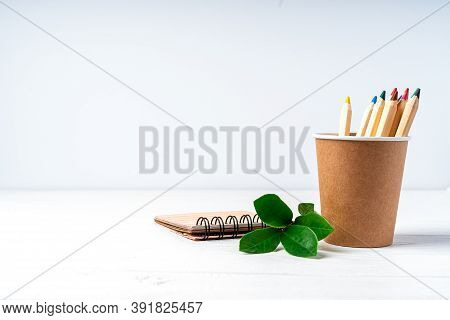 Craft Paper Coffee Cup, Pencils, Green Leaves Sprout And Recycled Stationery. School Zero Waste, Eco