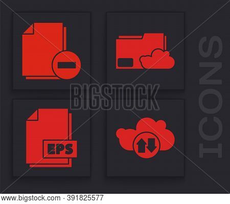 Set Cloud Download And Upload, Document With Minus, Cloud Storage Text Document Folder And Eps File