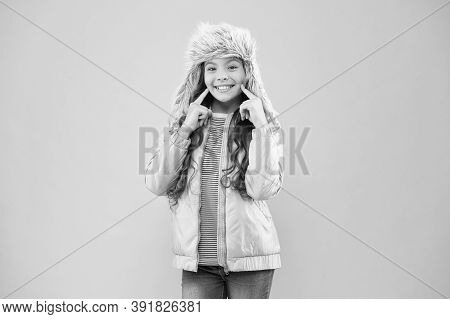 Wide Sincere Smile. Warm Hat For Cold Weather. Faux Fur Trend. Girl Long Curly Hair Wear Fur Hat Wit