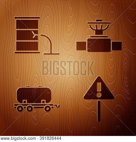 Set Exclamation Mark In Triangle, Barrel Oil Leak, Oil Railway Cistern And Industry Pipe And Valve O