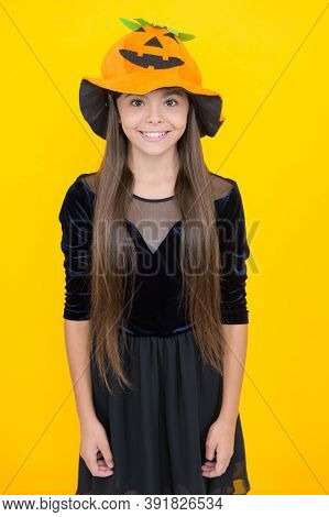 Pure Smile. Smiling Kid Wearing Squash Headwear. Carnival Costume Party. Trick Or Treat. Celebrate T
