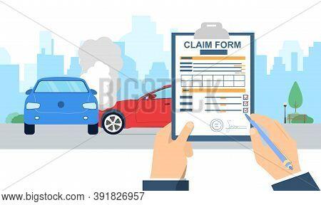 Insurance Claim Form. Car Accident Concept. Man Fulfilling Form On Car Crash Background. Transport I