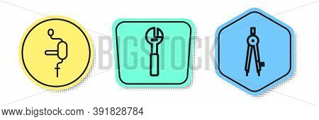 Set Line Hand Drill, Adjustable Wrench And Drawing Compass. Colored Shapes. Vector
