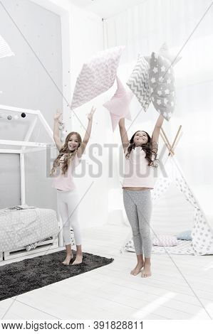 Doing Whatever They Want. Sleepover Party Ideas. Sisters Play Pillows Bedroom Party. Pillow Fight Pa