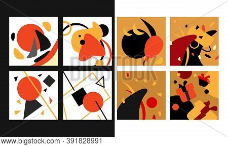 Geometric Pattern Set On White Isolated Backdrop. Fond Collection For Wallpaper, Web Site, Sleeper,