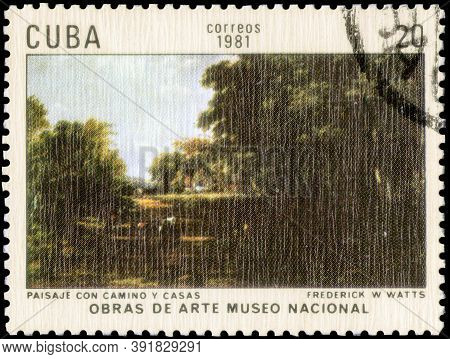 Saint Petersburg, Russia - September 18, 2020: Postage Stamp Issued In The Cuba The Image Of The Lan