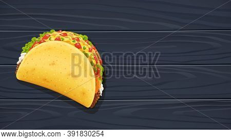 Tacos with meat and vegetable. Traditional mexican fast-food. Taco Mexico food with tortilla, leaves lettuce, cheese, tomato, forcemeat, sauce. Wooden background. 3D illustration.