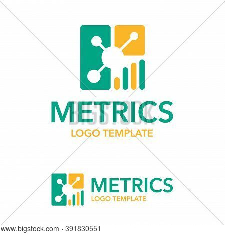 Metrics And Data Analytics Logo Template - Business Chart Creative Flat Icon - Isolated Vector Corpo