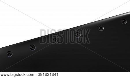 Technological Background From Sheet Painted Metal Or Plastic, Screwed. Black Realistic Metallic Blui