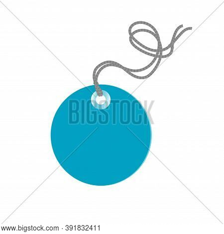 Vector Isolated Illustration Of A Commodity Blue Tag With A Rope. Sale Or Discount.