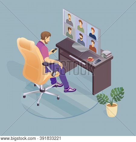 Home Office Concept. Working From Home. Conference Video Call. Vector.