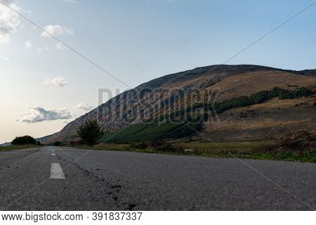 Country Road Through Rural Hillside Autumn Typical Scene Village Asphalt Farming Ground Trasnport