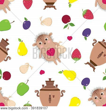 Vector Seamless Pattern With Funny Small Hedgehog, Samovars And Fruits For Summer Tea Drinking. Chil