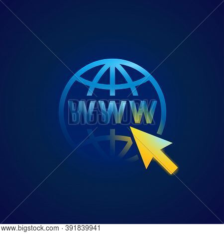 Www Icon (globe With Cursor And Domain Inside) On Dark Background - Vector Shiny Element