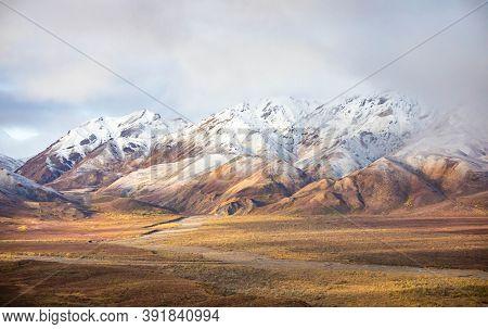 Tundra Panorama View At Denali National Park In Fall
