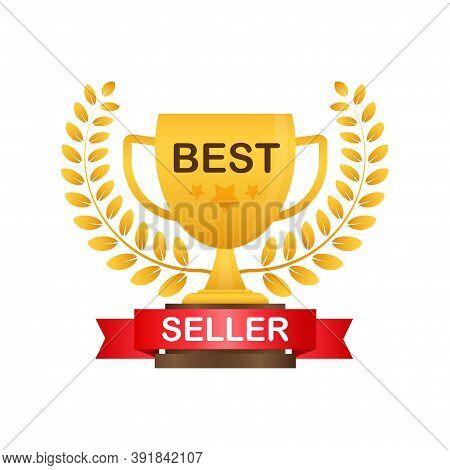 Best Seller Badge. Best Seller Golden Label. Retail Badge. Advertisement Symbol. Vector Illustration