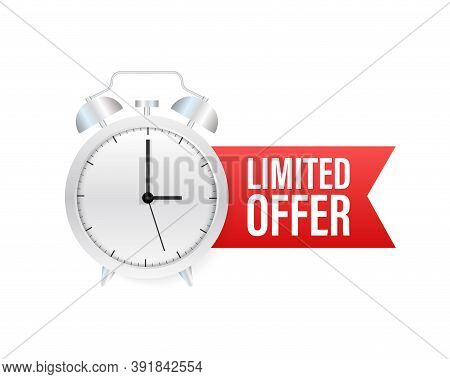Limited Offer Labels. Alarm Clock Countdown Logo. Limited Time Offer Badge. Vector Illustration