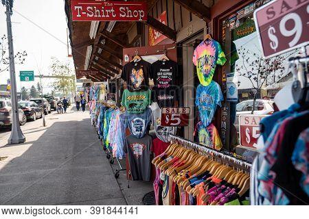 West Yellowstone, Montana - September 23, 2020: T-shirt Store Having A Sidewalk Sale, Selling Cheap