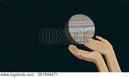 Detailed Flat Vector Illustration Of Two Hands Holding Jupiter.