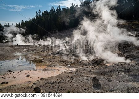 Porcelain Basin At In The Morning, Lots Of Steam In Norris Geyser Basin, Yellowstone National Park