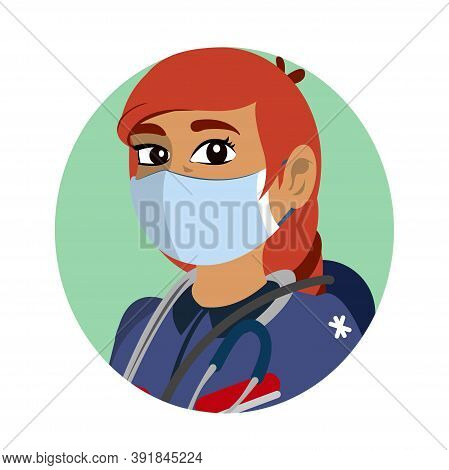 Isolated Paramedic Wearing A Face Mask - Vector Illustration