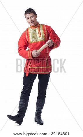 Happy dancer in russian costume with letter