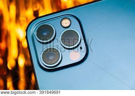 Paris, France - Oct 23, 2020: Futuristic Lidar Sensor And Triple Camera Iphone 12 Pro Max 5g Smartph
