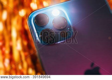 Paris, France - Oct 23, 2020: Flashlight On And Focus On Lidar Sensor On New Iphone 12 Pro Max 5g Sm
