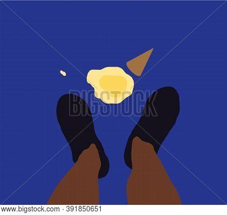 Vanilla Milk Ice Cream Cone Fallen On Street Floor And Melt On Ground In Front Of Black People Feet.