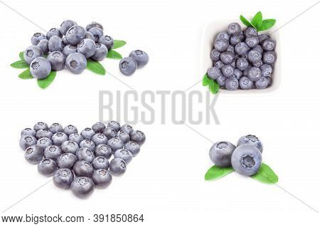 Collage Of Bilberry Isolated On A White Background Cutout