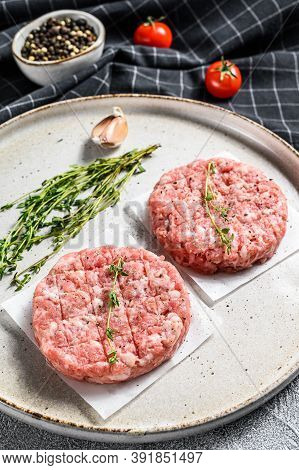 Raw Chicken Cutlets, Ground Meat Patty. Organic Mince. White Background. Top View