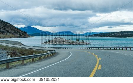 Alberta Highway 11 (david Thompson Hwy) Along The Abraham Lake, A Small Rock Islet At Lake Shore. Ja