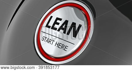 Lean Start Here Button On Black Background, 3d Rendering