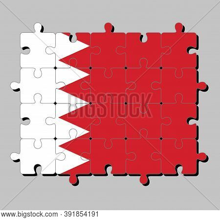 Jigsaw Puzzle Of Bahrain Flag In Five White Triangles In The Form Of Zigzag On Red Field. Concept Of