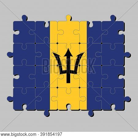 Jigsaw Puzzle Of Barbados Flag In Triband Of Ultramarine And Gold With The Black Trident-head On The