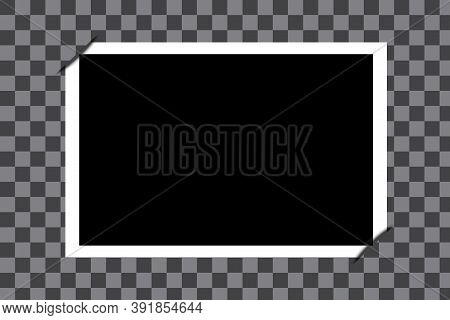 Vector Old Photo In A Photo Frame. Vintage Photographic Card With Folded Corners. Stock Image.