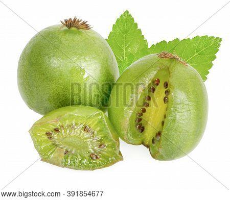Kiwi Berry (actinidia Arguta) Is A Small Fruit Resembling The Kiwifruit On White Background