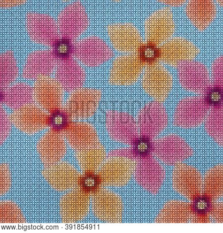 Illustration. Cross-stitch. Cyclamen Flowers. Texture Of Flowers. Seamless Pattern For Continuous Re