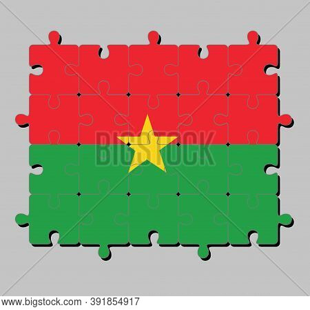 Jigsaw Puzzle Of Burkina Faso Flag In Red And Green In Yellow Star. Concept Of Fulfillment Or Perfec