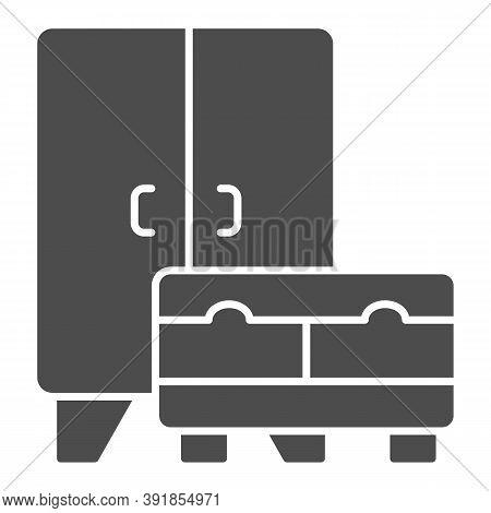 Wardrobe And Cabinet Solid Icon, Interior Design Concept, Furniture Sign On White Background, Cupboa